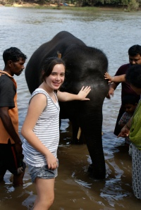 Gal washing elephants 2008