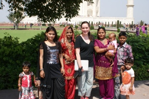 Gal with new friends at the Taj.