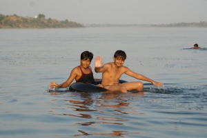 Local kids enjoying the river.